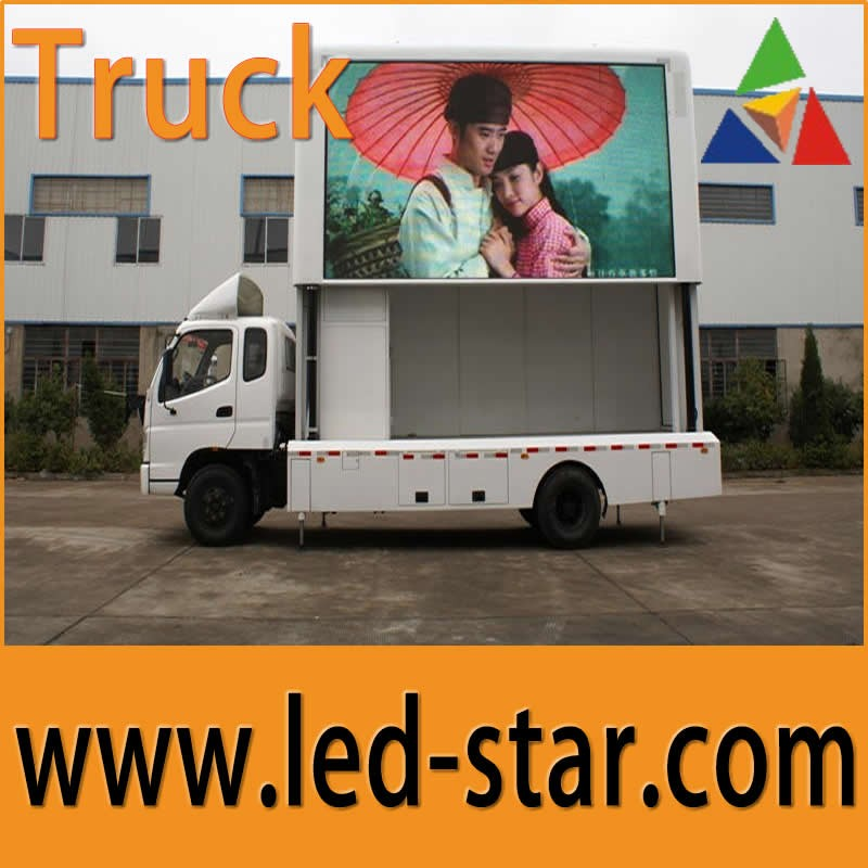 Big foldable advertising Board Outdoor P6 led screen on mobile truck