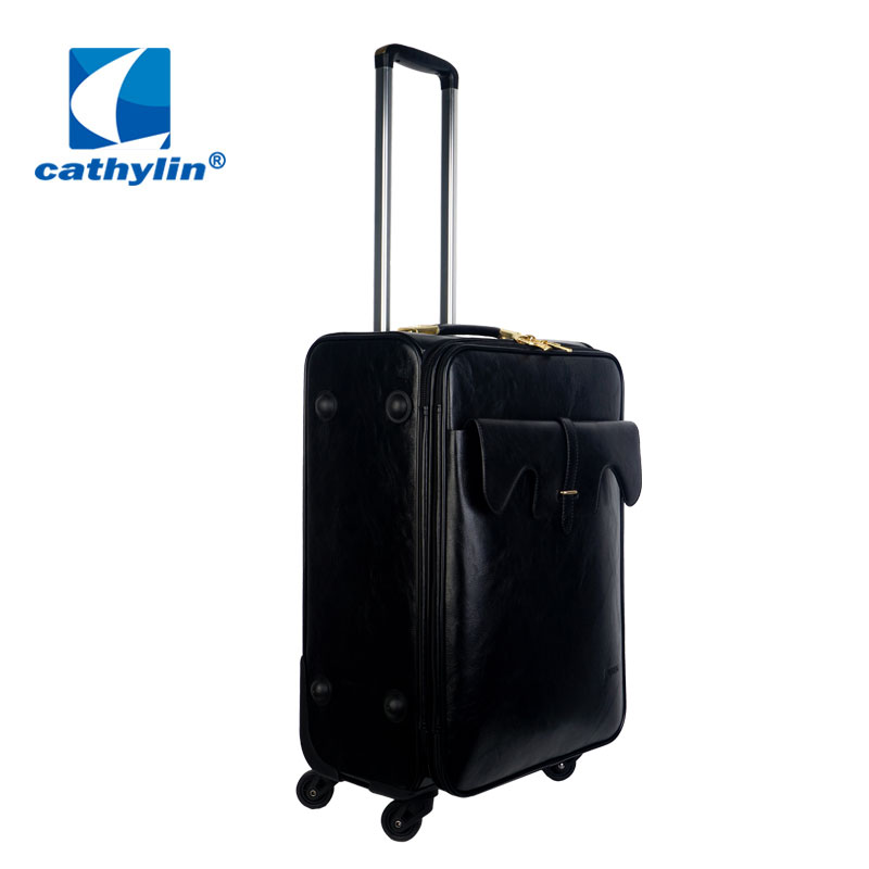 popular new design cheap good quality pu leather vantage elegance luggage