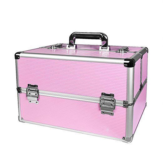 RL yaeshii 2018 new design professional aluminum rolling trolley lighted cosmetics makeup case with 6 LED bulbs