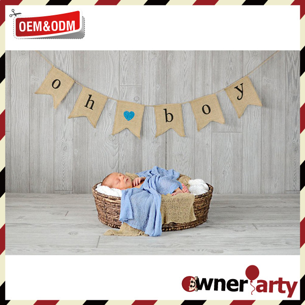 Wholesale Oh Boy Jute Bunting Burlap Banner Newborn Baby Celebrate Baby /Baby Shower Decor Flag