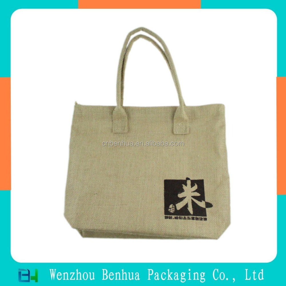 Custom fashion customized jute bag with zipper