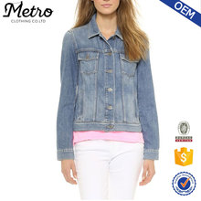 Soft Light weight Jacket cotton and rayon blending faded denim women jackets