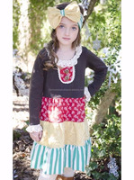 Western kids wholesale long sleeve lace floral stripes one piece baby girl casual wear dress