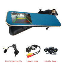 3U-80187 Dual Lens Car Camera Dash Cam Auto Video Recorder 4.3 Inch Rear View Mirror Display Screen for Vehicles Front Rear Dvr