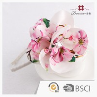 Summer design 4 way spandex fabric flower headbands with rhinestone