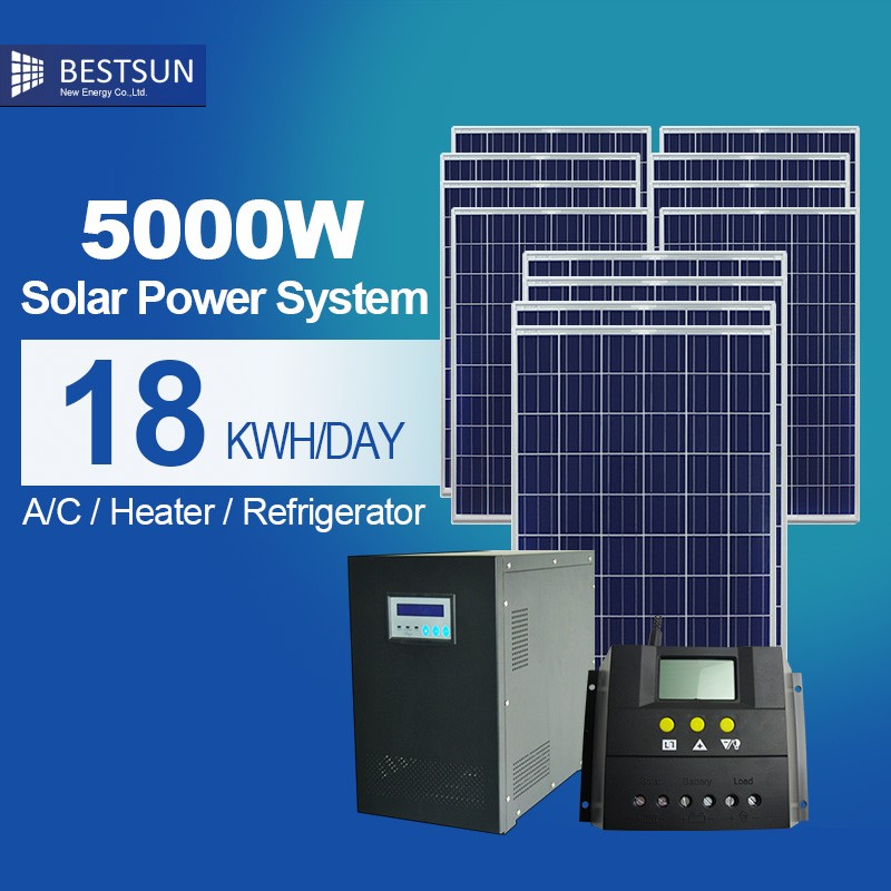 BEST SUN solar off grid small solar home system 5000W with solar