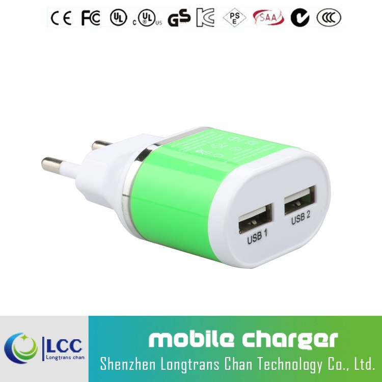 Wholesale 5V 2.1A USB wall charger phone charger for samsung s6,huawei p8