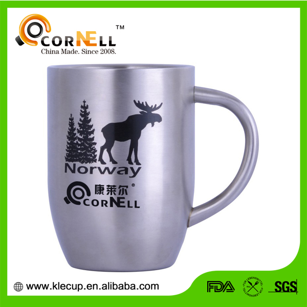 promotional custom double wall stainless steel coffee mug with handle