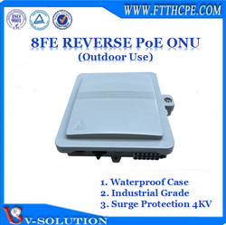 8FE Reverse PoE EPON ONU MDU Support 4KV Lightning Protection for FTTB/FTTC Solution Outdoor Application