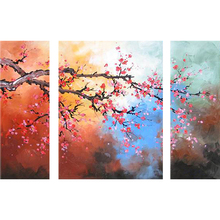 Decoration Triptych Modern Painted Flower Pictures Painting