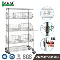 NSF adjustable stainless steel wire shelving for store and supermarket rack