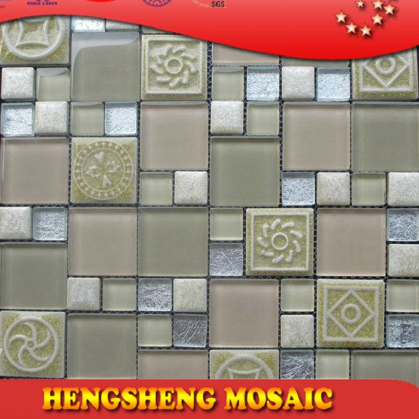 Latest design decoration wall tile floor tile glass mix ceramic mosaic mosaic stone picture
