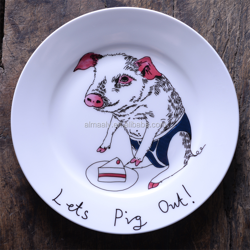 antique chinese porcelain plate, custom printed ceramic plate,pig painted dish