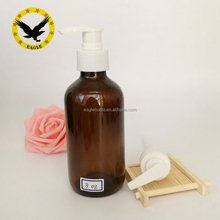 8 oz 250ml Amber Boston Round Glass Bottle with Pump