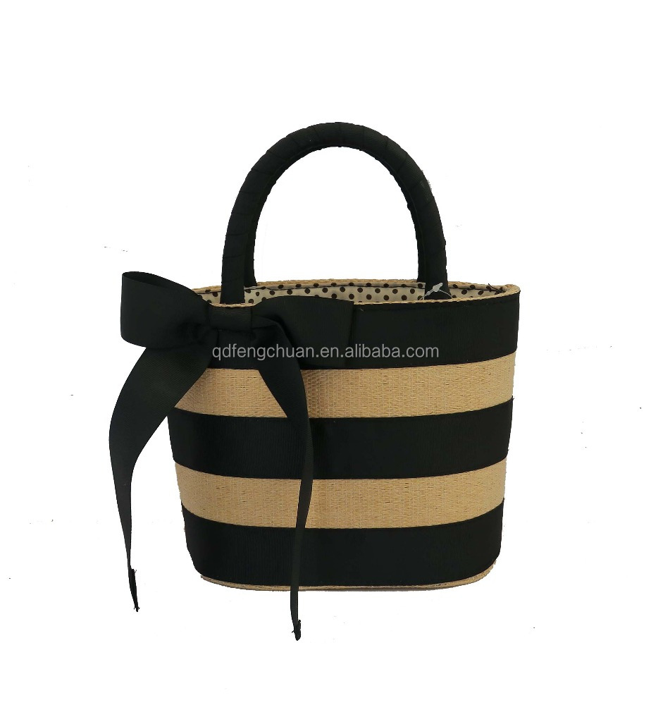 2017 girl fashion paper straw beach bag