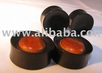 Reversible concave ebony ear plugs with redwood inlay