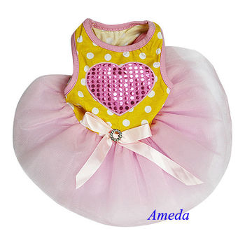 Bling Heart Yellow Polka Dots Pink Tutu Pets Dogs Party Dress XS-L