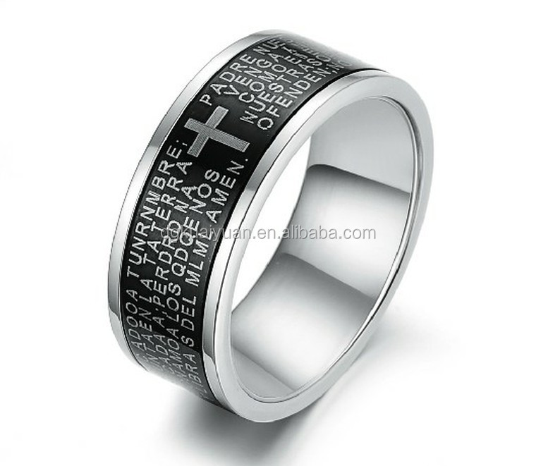 Wholesale scriptures engraved stainless steel christian jesus ring