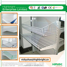 wire mesh basket shelf accessories for supermarket gondola racks