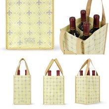 custom silk-screen printing 4 bottles non woven wine bag,4 bottle wine carrier bag