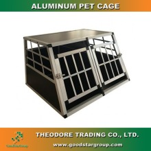 Dog House Right Trapezoid Shape Travel Carrier Pet Kennel Crates Cages with Locks Two Doors Two Rooms Small Size Aluminum Frame