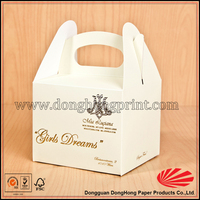 White Paper Take away food grade pastry packaging box