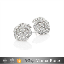 Wholesale Jewelry Supply Micro Pave stud earrings Luxury 18K Gold Diamond jewelry