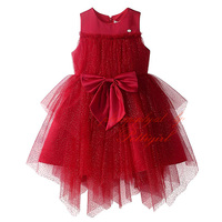 2016 Summer Red Girl Birthday Dress With Bow Fluffy Girls Party Dresses Fashion Toddler Clothes DMGD81016-16Y