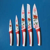 5 pcs colorful flower knife set,red and white handle