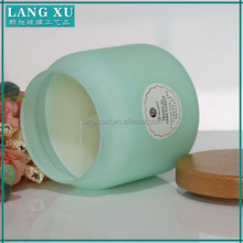 Evenly frosted different colors ceramic effect wholesale glass candle jar with wooden lid