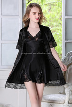 Black Silk Babydoll Lingerie and robe set two pieces satin lingerie set R331-8