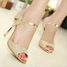 Gold peep toe PU ladies sandals sexy thin heels women's high heels sandal shoes(M40083C)