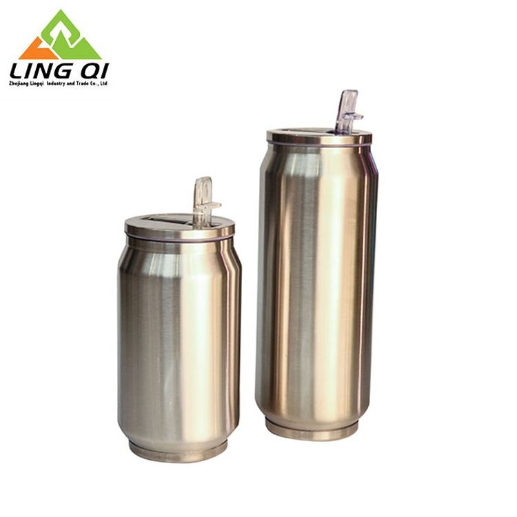 350ml stainless steel custom shape straw cola can tumbler