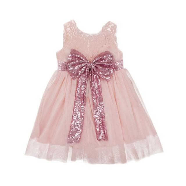 2017 Girl Princess Dress New Fashion Sequin Flower Girl Dress Party Birthday wedding princess Toddler baby Girls Clothes Child