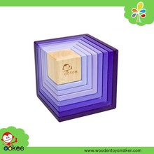 2016 Rainbow tower stacking rings wooden block game stacking toys
