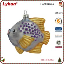 3.5 inch inflate glass fish for Christmas tree Decoration