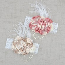 Chiffon Shabby Chic Vintage Headbands With Pearls & Feather Flowers Lace Girl Hairband