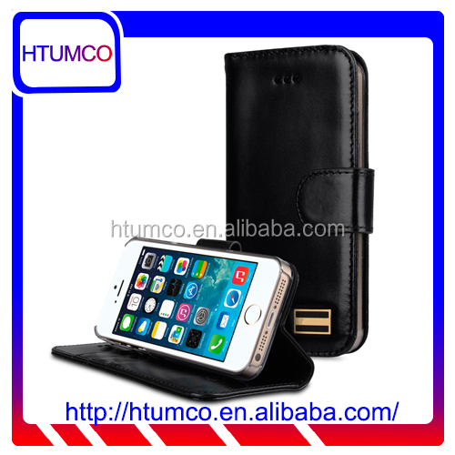Wallet Stand Black Wax Leather Case for Apple iPhone 5s / 5 / SE