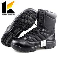 Black leather high heel Boots Army Military Boots