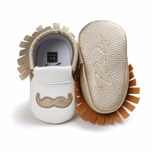 New Products Leather Tassels Fanny Mustache Design Baby Shoes Newborn Baby Walking Shoes Soft Sole