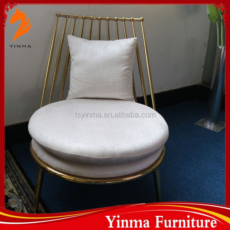 Foshan Manufacturer blue fabric and steel cushion chairs for dining
