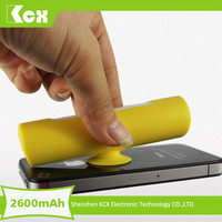 Professional factory New style suction cup 18650 power bank 2600mah with charging kit for promotion