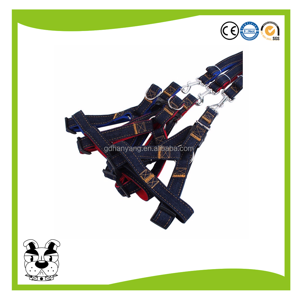high quality durable jean fabric dog leash harness collar