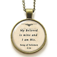 Bible necklace, my beloved is mine and i am his print Photo Christian necklace