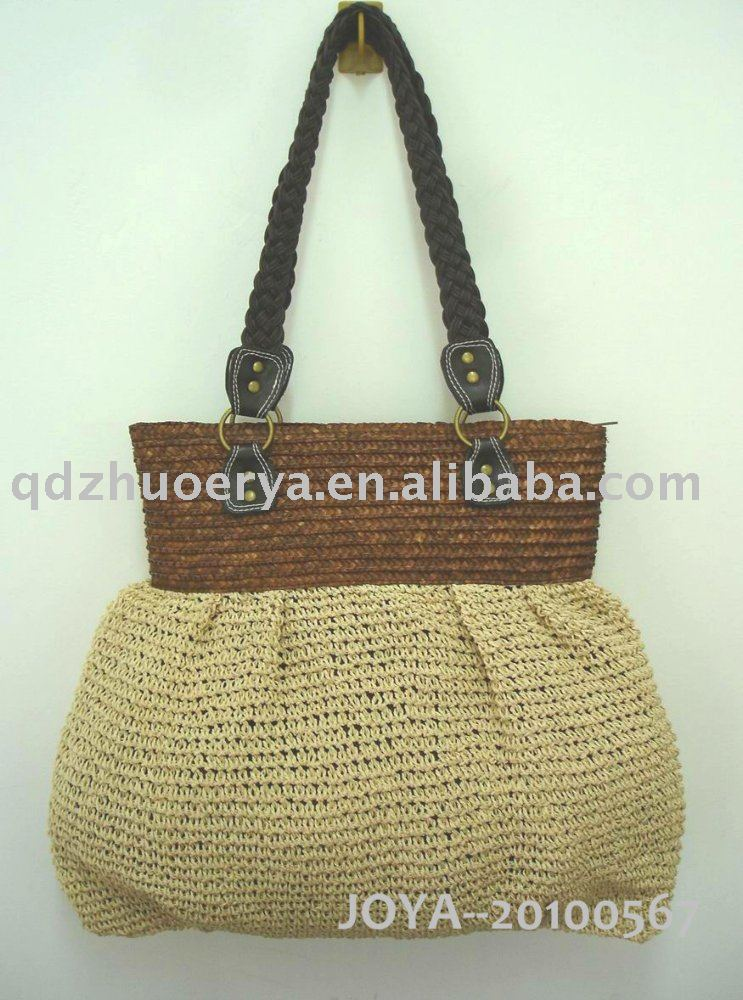 Elegance paper straw handbag for 2010 SPRING +paper straw braind at top and handle+polyester