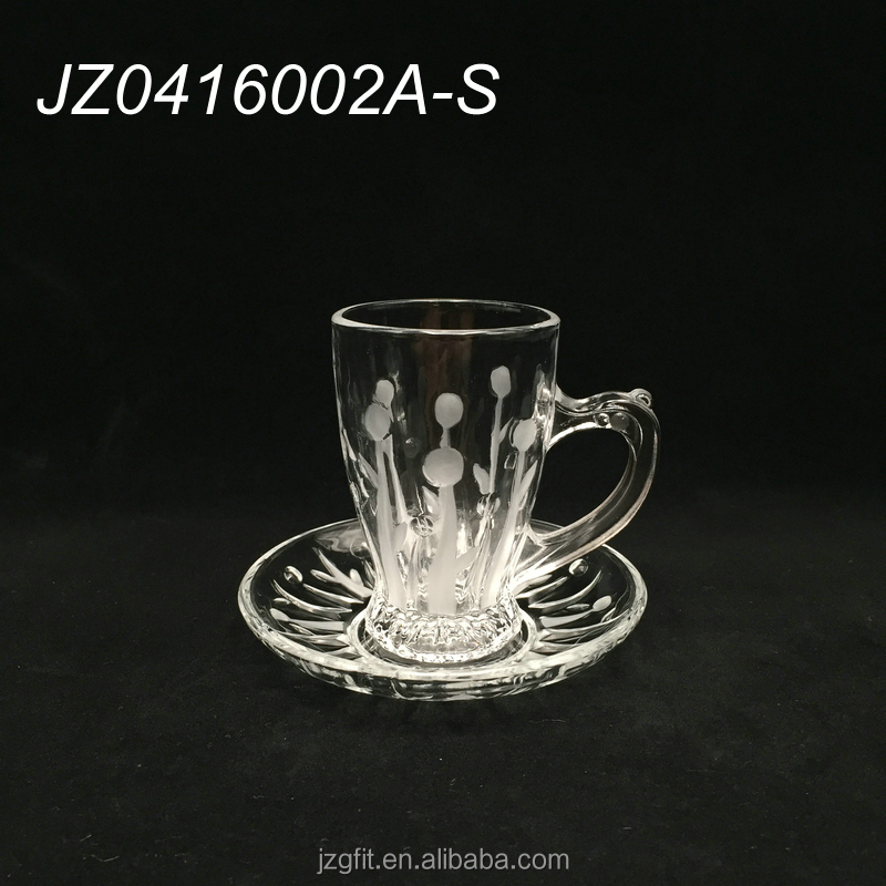 2016 hot sale wholesale customised glass cup & saucer for tea and coffee