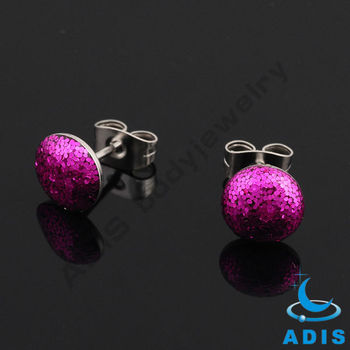 Girls piercing jewelry stainless steel fuchsia epoxy glitter ear studs