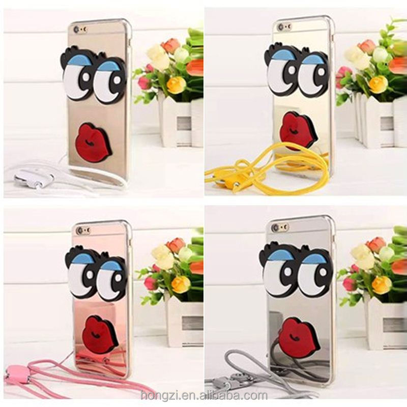 3D cute cartoon luxury brand Korea Big eye Flaming sexy lip Mirror with Sling case For 4.7inch / 6 6s plus 5.5 inch