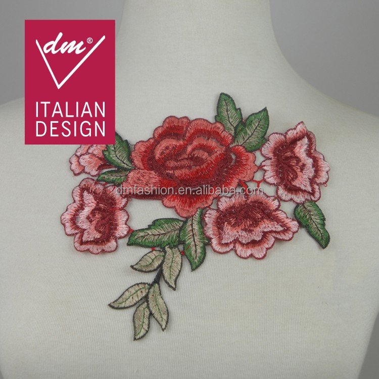 Popular hot small flower embroidered patches for blouses