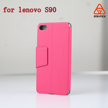 Clear PC + PU leather case for Lenovo Sisley, for S90 stand phone cover